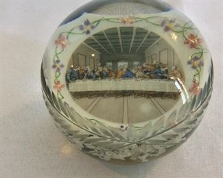 "The Last Supper Cut Glass Paperweight, 4"" diameter."