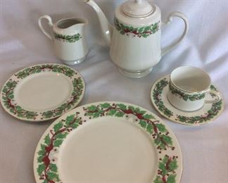 Sango Holly Christmas Dishes - Serving for 8.