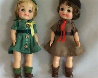 """Vintage Effanbee Girl Scout and Brownie Dolls, 8 1/2"""" H."""