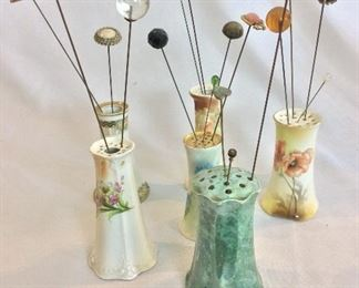 Antique Hat Pins and Hat Pin Holders.
