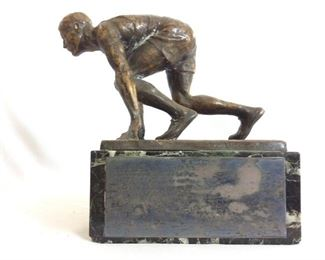"""Vintage Bronze on Marble Base Track and Field Trophy (11"""" H, 28 pounds). Baltimore, Maryland. """"The Sun and The Evening TimesTrophy Maryland Olympic Games Awarded Annually to County Scoring Most Points"""". The Name Plate List Winners from 1931 to 1936."""