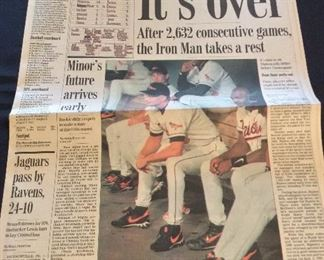 Cal Ripken Jr. 2,632 Consecutive Games, The Baltimore Sun. The Streak Ends.