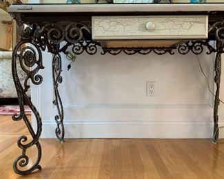 Door Top Iron Base Console Table with Mirror