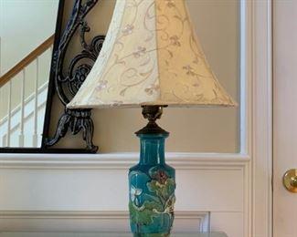Enamel Lamps, Pair