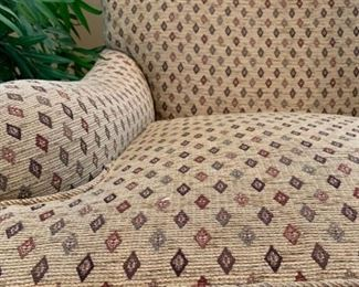 Upholstered Armchairs with Ottoman, Pair