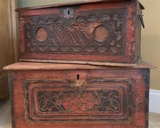 Antique Burned Wooden Chests