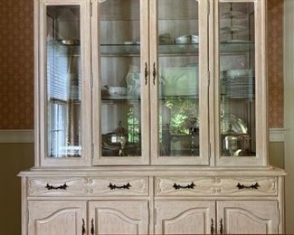 Fremarc Dinning Room Set, Six Carved Frame Rush Seat Chairs, Sideboard and Hutch