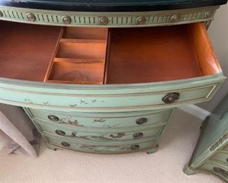 Vintage Hand Painted Chinoiserie Bedroom Set with Marble Top, Signed R. Welch