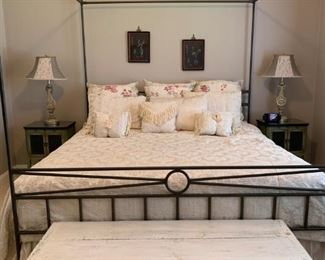 Canopy Bed, Rustic End of Bed Bench