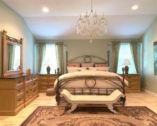 Acorn Top Wrought Iron KING Bed, Stanley Three Piece Bedroom Set