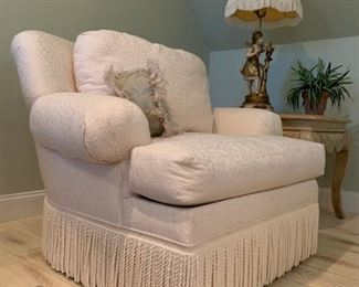 Rowe Furniture Fringe Accented Armchair and Ottoman