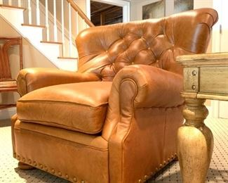 Ralph Lauren Tufted Back Leather Club Chair with Ottoman
