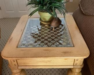 Rustic Two Piece End Table and Coffee Table Set