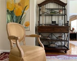 Quilted Oval Back Accent Chairs with Skirt, Bakers Rack, Aubusson Needlepoint Rug