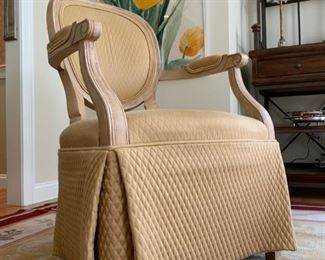 Quilted Oval Back Accent Chairs with Skirt