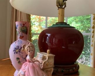Burgundy Vase Lamp w Asian Base, Music Box