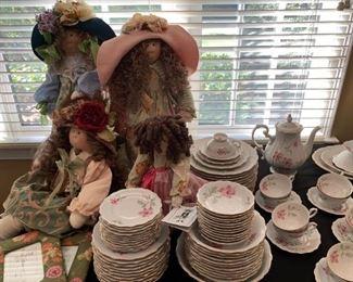 Little Souls, Inc, Soft Body Dolls, Forest Bavarian Porcelain Dinnerware, Blossom Time