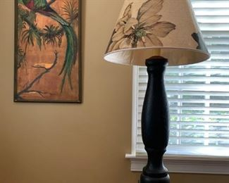 Copper Painting, Wooden Column Lamp