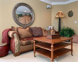 Fremarc Three Tier Coffee Table on Casters, Furniture Guild Patchwork Sofa