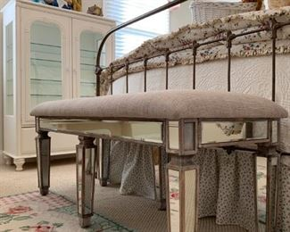 Mirror Accented End of Bed Bench