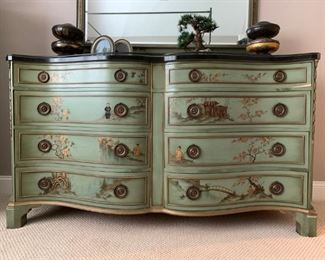 Vintage Hand Painted Chinoiserie Bedroom Set with Marble Top