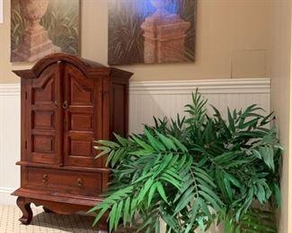 Arch Top Cabinet, Art Prints, Faux Plants