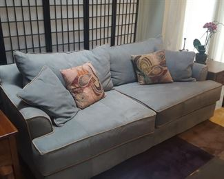 $100 Blue/grey Suede Sofa by Viewpoint Leather Works.