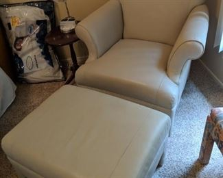 $150  Tan pleather chair with ottoman