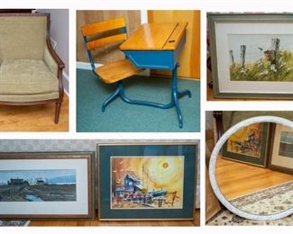 Two living room chairs, antique school desks, mirrors, paintings and prints