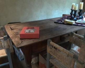 View of 12 foot rustic table.