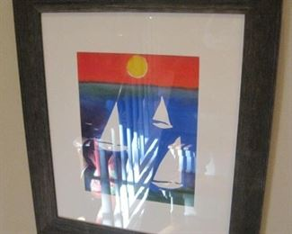 Framed watercolor by Michael Lawrence.