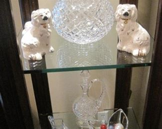 Staffordshire Dogs. Waterford & Orrefors crystal.