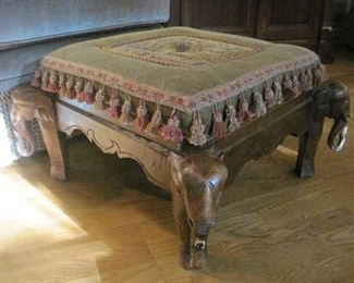 Footstool with Elephant Details.