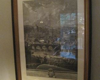 A pair of etchings of scenic Rome.