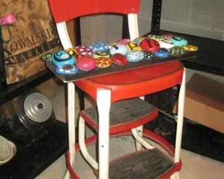 Vintage Fold Out Chair Step Stool