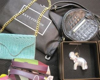 Jay Strongwater ornaments. Emilio Pucci and other handbag/purses.