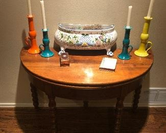 Antique Burl Walnut Game Table with Neiman Marcus Candle Holders and French Faience Pottery