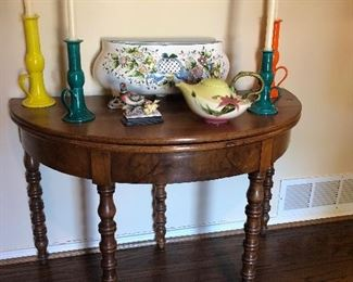 Antique Burl Walnut Game Table with Neiman Marcus Candle Holders and French Faience Pottery, Hull Pottery