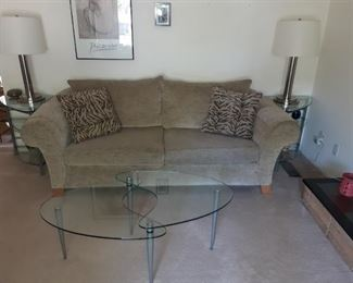 Flexsteel sofa, brushed nickel and glass tiered end tables and coffee table