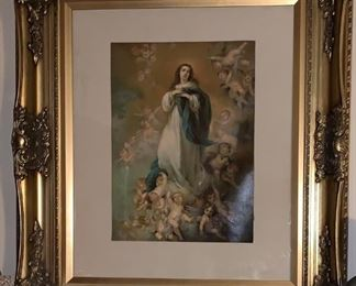 ANTIQUE IMMACULATE CONCEPTION  OIL  CANVAS LITH 2FT..BUFFALO PICTORIAL COMPANY,,,NEW YORK  $250