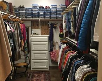 Women's designer clothes and shoes.  Most size 2-4 and 7.5 shoes.