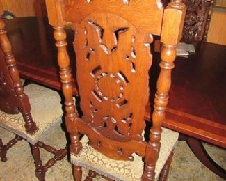 """Offered at $3000.  French Continental 1870 set of two head of table chairs with 1800s needle point upholstery and four side chairs. Made of hand carved Walnut. Side chair shown here. (17""""d x 19""""w x 51.75""""h) ~ Please send inquiries via text to 251.525.0966 and reference the photo number."""