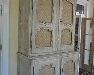"""Offered at $3000.  French Pine 19th Century two part cupboard. Hardware is not unique to this piece. Scallop cut shelving. The cabinet has been white washed or limed. A stunning and sturdy piece for the era. (59.75""""w x 28.25""""d x 102.5""""h) ~ Please send inquiries via text to 251.525.0966 and reference the photo number."""