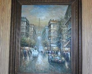 """Offered at $400.  Eiffel Tower scene oil on canvas framed in heavy gilded baroque frame. Unsigned. In the style of Frank Bennett. (50 3/4"""" x 63"""" framed) ~ Please send inquiries via text to 251.525.0966 and reference the photo number."""