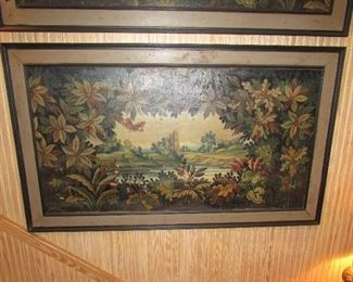 """Offered at $500/each, or $1000 for the pair.  Pair of """"paintings"""" are believed to be parts of a larger painting, possibly a mural at one time. Appraised estimated age Mid 1800s. Many deterioration features requiring expert repair, but amazing as they are. 5"""" frame. No signature. (Each measure 33 1/2"""" x 62 3/4"""") ~ Please send inquiries via text to 251.525.0966 and reference the photo number."""