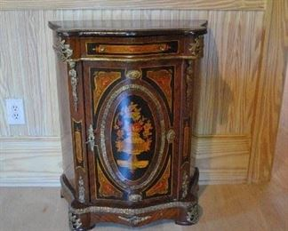 """Offered at $3000.  Pair of Matching Marquetry cabinets. In style of Napoleon III. Circa 1800s. (25""""w x 12.25""""d x 31.75""""h) ~ Please send inquiries via text to 251.525.0966 and reference the photo number."""