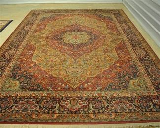 """Offered at $1800.  Persian Tabriz large medallion machine made rug.  Wool.  Excellent condition. (8'8"""" x 12') ~ Please send inquiries via text to 251.525.0966 and reference the photo number."""
