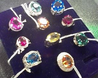 Colossal Huge Gemstones, sterling 925 all Presidium gemstone duo tested!!!