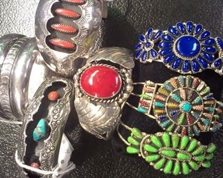Sterling 925 cuffs: coral, turquoise, carnelian, green turquoise, lapis, multi stones