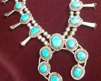 """sterling 925 Turquoise Squash Blossom signed, 26"""" l(length), vintage (vntg)"""